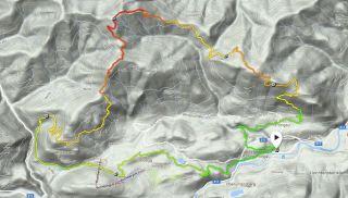 Rennstrecke (Farben = Höhenlage) © Google Maps, Suunto Movescount